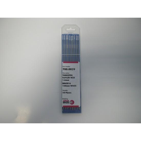 Binzel Tungsten Electrode 1.6mm Zirconiated (Pack 10)
