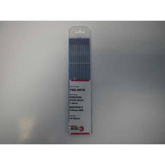 Binzel Tungsten Electrode 1.6mm Thoriated (pack 10)